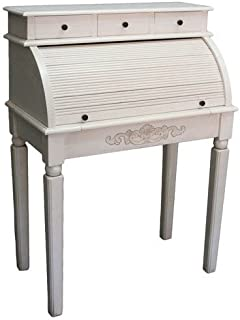International Caravan Furniture Piece Carved Wood Roll Top Desk