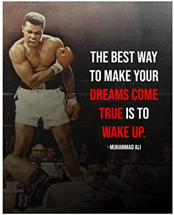 Muhammad Ali Quotes Wall Art Best Way to Make Dreams Come True Wake Up 8 x 10 Vintage Boxing product image