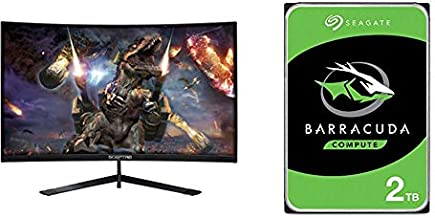 Sceptre 24-Inch Curved 144Hz Gaming LED Monitor, Machine Black & Seagate Barracuda 2TB Internal Hard Drive HDD – 3.5 Inch SATA 6Gb/s 7200 RPM 256MB Cache 3.5-Inch – Frustration Free Packaging