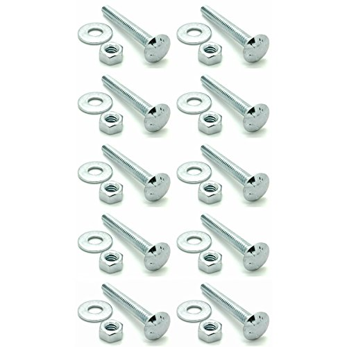 SNUG Fasteners Ten (10) 1/4-20 x 2 Long Carriage Bolts Set w/Nuts & Washers (SNG283)
