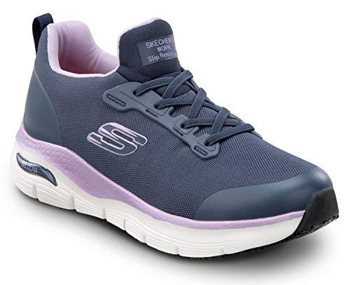 Skechers Arch Fit Work Serena, Women's, Navy, Soft Toe, Slip Resistant, Low Athletic Slip On Work Shoe (5.5 M)