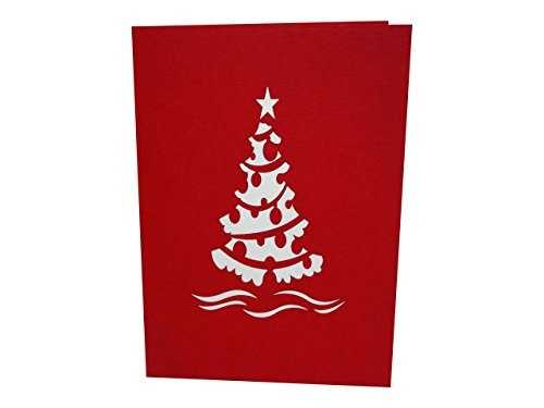 lovepop Tree Christmas Greeting Card, Red