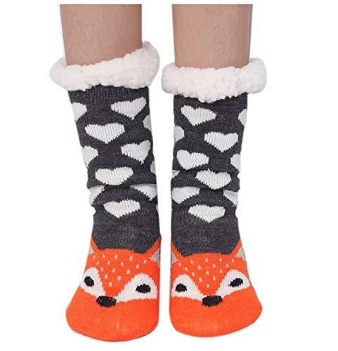 Amkun - Calzini da donna e ragazza, super morbidi, in maglia, con animaletti animali, antiscivolo, ideali come regalo di Natale Volpe grigia Etichettalia unica