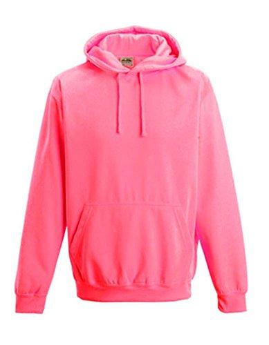 Coole-Fun-T-Shirts Herren Neon Sweatshirt mit Kapuze floureszierend, neonpink, L, 10811_neonpink_GR.L