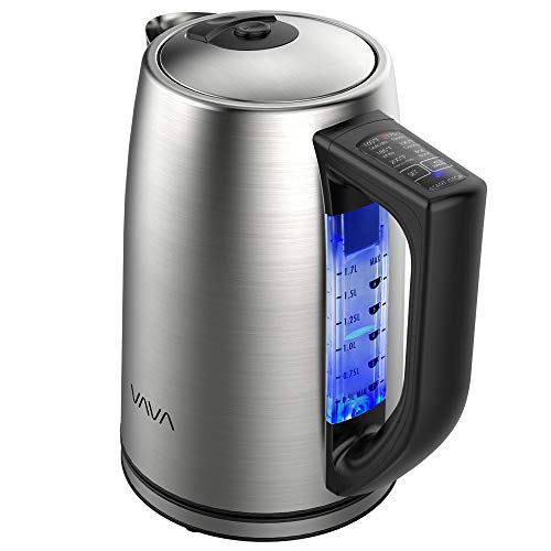 Electric Kettle, VAVA Stainless Steel Tea Kettle Adjustable Temperature Control 1.7L Cordless Hot Water Boiler Heater (BPA-Free Build, Keep Warm Function, Strix Control)Upgraded Version