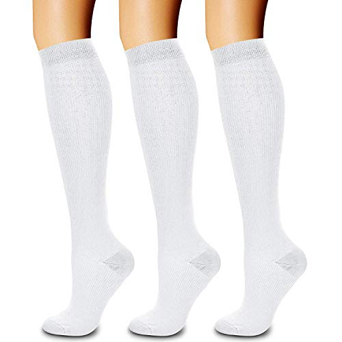 Calcetines de compresión (3 pares) de 15 a 20 mmhg es el mejor atletismo y médico para hombres y mujeres, correr, vuelo, viajes, enfermeras, edema, L/XL