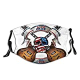Eamibay Crossed Electric Guitars With Skull American Flag Live Free Or Die Biker Culture Face...