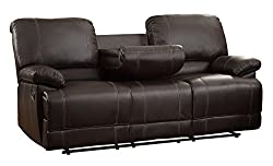 professional Home Legance Synthetic Leather Sofa, Double Backrest, Brown