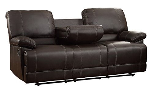 Homelegance Faux Leather Double Reclining Sofa, Brown