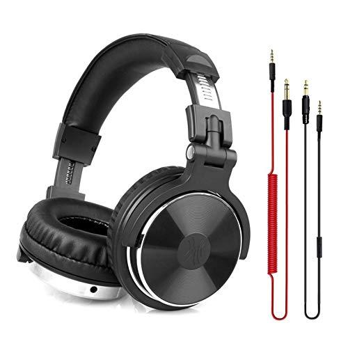 Auriculares para Juegos Auriculares Profesionales de Estudio DJ con micrófono sobre Auriculares con Cable de Oreja HiFi monitores Auriculares de Juego Plegables para PC para Juegos móviles,