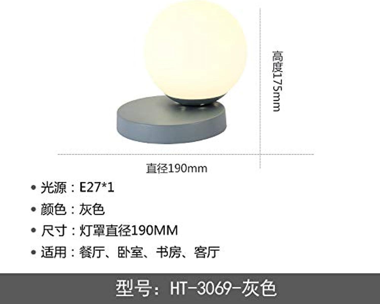 WANQINGW Macaron-Nachtlichtschlafzimmerrunde Tischlampe Kreative Moderne Nachttischlampenstudie Führte Glaskugellampe
