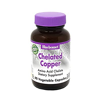 Bluebonnet Nutrition Albion Chelated Copper, 3 mg of Copper, For Nervous System & Immune Health*, Soy-Free, Gluten-Free, Non-GMO, Kosher Certified, Dairy-Free, Vegan, 90 Vegetable Capsule, 90 Servings