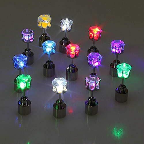 LessLIFE Pendientes, 9 Pares de Diamantes Brillantes LED Que cambian de Color Pendientes de botón de Fiesta con luz Parpadeante y Parpadeante Kit de Pendientes de botón joyería de Moda