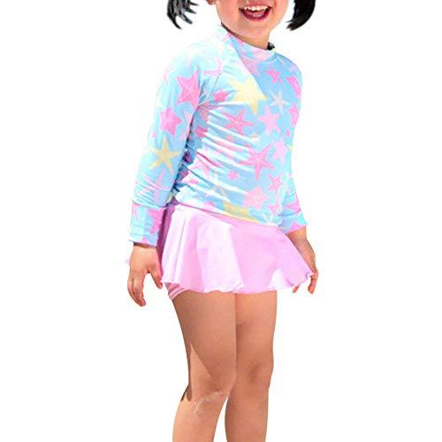 G-Kid Baby Meisjes Sneldrogende Rok Badpak Lange Mouw Peuter Bloemen Ruches Badmode UPF 50+