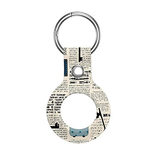 Funda de cuero para Apple Airtag Tracke Keychain, antiguo periódico vintage maletas llaves compatible con el buscador de etiquetas de aire