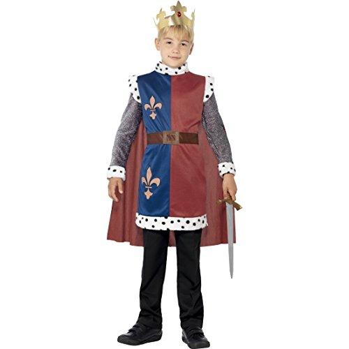 Costume d'enfant Roi Arthur déguisement de prince du Moyen-Âge avec couronne L 11-13 ans 140-158 cm Noble chevalier fils de roi tenue de prince tunique avec cape habit de carnaval pour garçon
