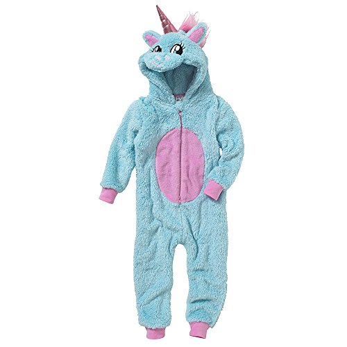 Onesies Animal Crazy Girls Glitter Unicorn Supersoft Fleece Jumpsuit Playsuit UK Seller - Aqua - 11/12 Years