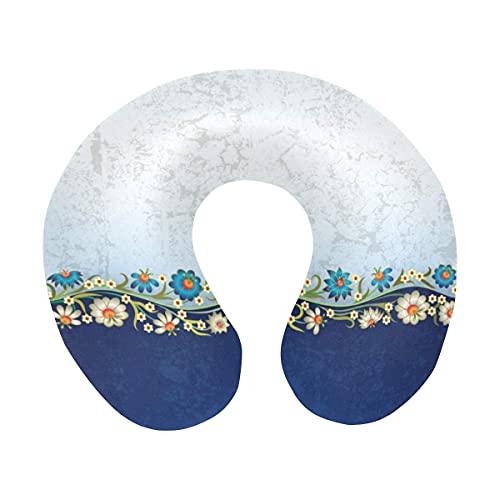 Fondo abstracto grunge blanco azul con adorno floral de flores Almohada para el cuello de viaje Almohada de espuma viscoelástica para el cuello para aviones domésticos y coche Soporte suave para la ba