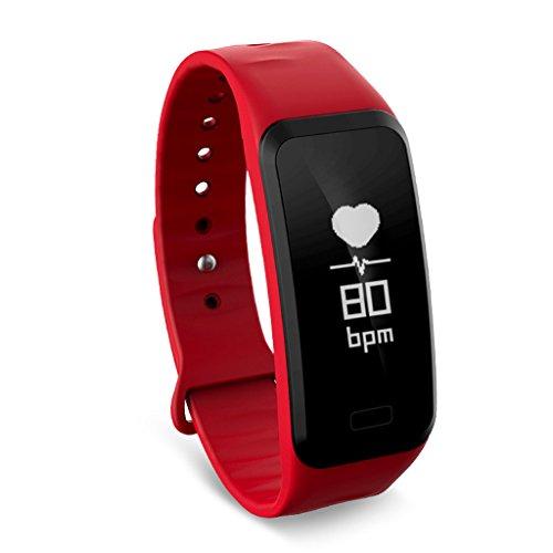 LAMTON Smart Armband Bildschirm Fitness Tracker R1 Blutdruck Sauerstoff Herzfrequenz Überwachung Armband Sportuhr Schlaf Monitor (Farbe : Red)
