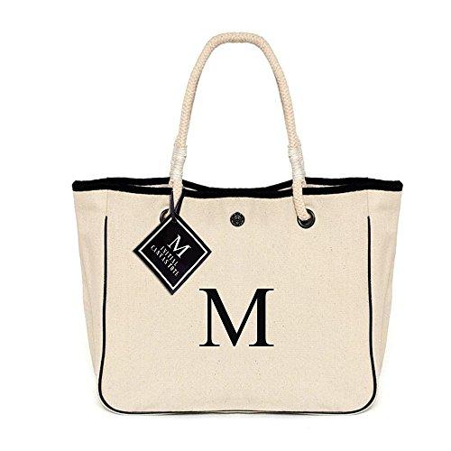 [ INITIAL - M ] Monogram Name Canvas Tote Shoulder Bag