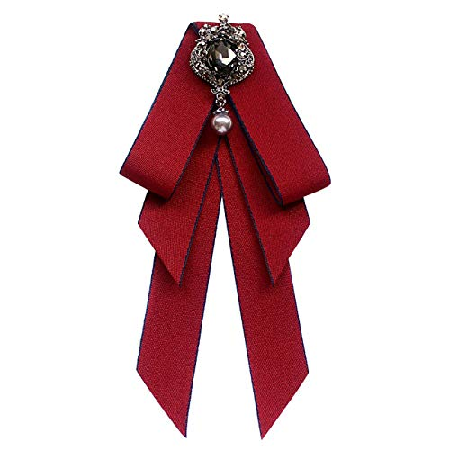 Nueva tela de tela Art Bowknot Broche Rhinestone Bow Tie College Wind Collarand Broches Camisa Ramillete para n Accesorios-Vino tinto 2