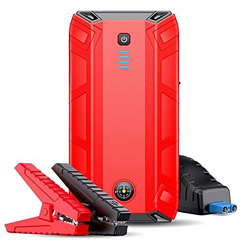 Arrancador de Batería de Coche 1500A 18000mAh Cargador De Batería De Arrancador De Salto De Coche Portátil con DIRIGIÓ Brújula De Linterna Fácil de Conectar (Color : Red, Size : 18000mAh)