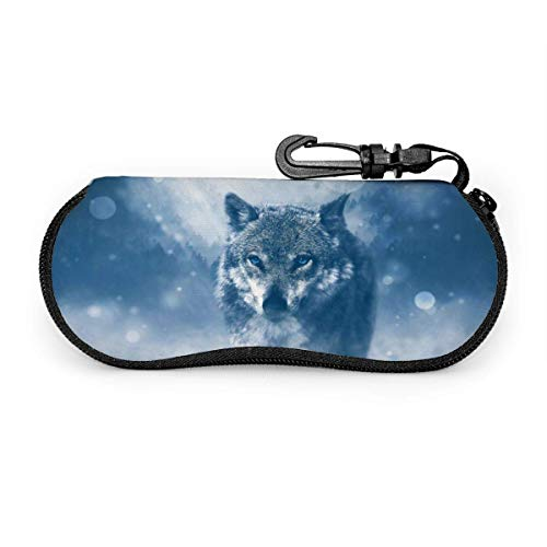 Wolf in The Snowy Sungses Case Portable Soft Gses Case Slim Ultra Light Gses Box Eyewear Case Zippered Eyegs Case Protective Sungs Accories for Women Men
