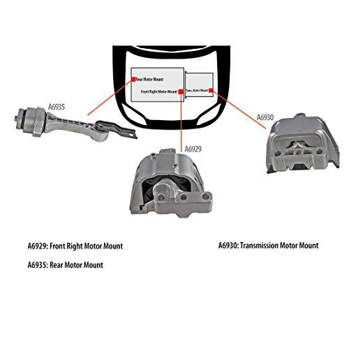 DNJ MMK1076 Complete Engine Motor & Transmission Mount Kit for 1998-2006 / Volkswagen/Beetle, Jetta, Golf / 1.8L, 2.0L / 3 PCS