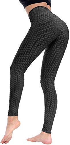 FASHION BOUTIQUE Beelu Beelu Damen Gym Leggings High Waist Push Up Sport Leggins Fitnesshose, M, Schwarz