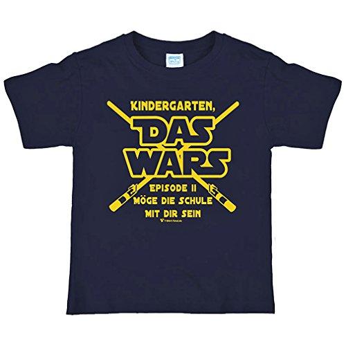 Krause & Sohn Schulanfang T-Shirt Gr. 122/128 mit Spruch Kindergarten Das Wars Dunkelblau