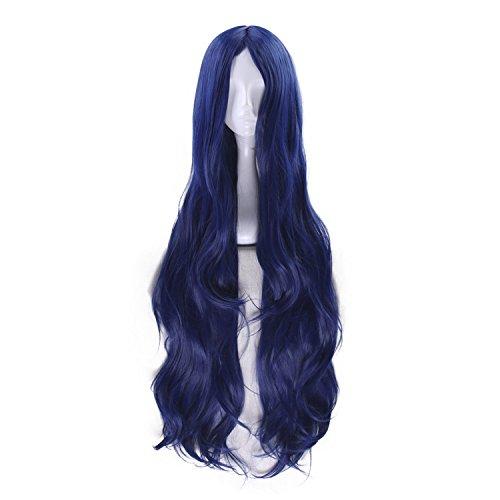 Anime 100cm Long Deep Blue Cosplay Wig Women Girls' Party Wig Heat Resistant Fiber