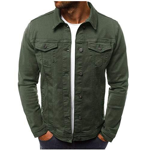 HNOSD 2019 Giacca da Uomo Tuta Casual Giacca Giacca Cappotti Pulsanti Uomo Verde Militare XL