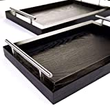 Wooden Serving Trays with Stainless Steel Handles (2 Pc. Set) Black Grain, Farmhouse Wood Butler Platters | Serve Breakfast, Appetizer, Coffee, Bar, and Food | Party or Display Use | Bison Home Goods