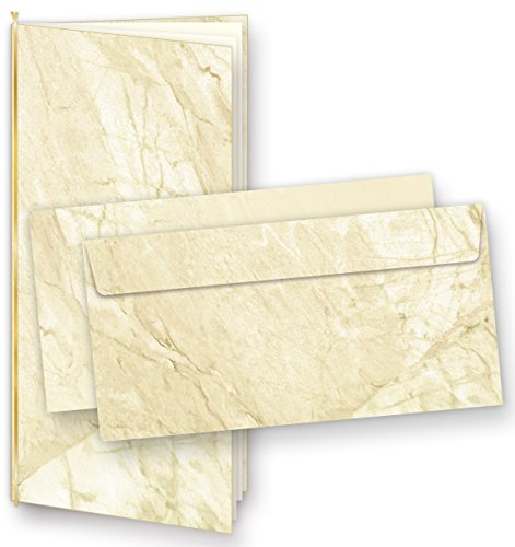 Einladungskarten Marmor (25 Sets) zum Selbst-gestalten, mit Einlegeblätter + Goldbänder, für Geburtstag, Jubiläum uvm.