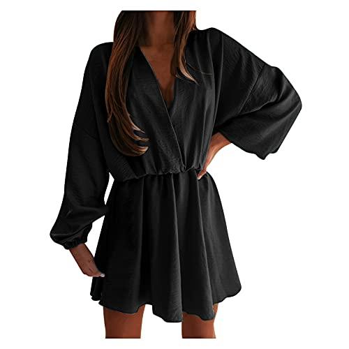 IKFIVQD Vestido casual de verano con estampado de manga larga y cuello en V con cordón para mujer, Negro, X-Large
