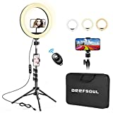 Luce ad Anello LED con Treppiede, DEEFSOUL 10,2'' Ring Light LED, 3 Modalità Colore, Con borsetta, Con due porta cellulare per Telefono e Telecomando Bluetooth, Per Youtube, Selfie, Tik Tok