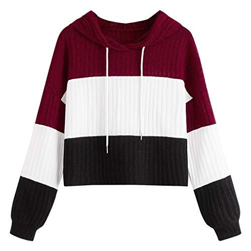 HOTHONG Femme Sweat à Capuche Sweatshirt Patchwork Fille Hoodie Pullover Tops à Manche Longue Hoddies Tops Blouse Courte Manteau Sweat-Shirt