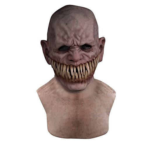 cnnIUHA Halloween Cosplay Mask for Adult Holiday Creepy Wrinkle Masquerade DIY Props Scary Atmosphere Toy Novelty Costume Durable and Breathable