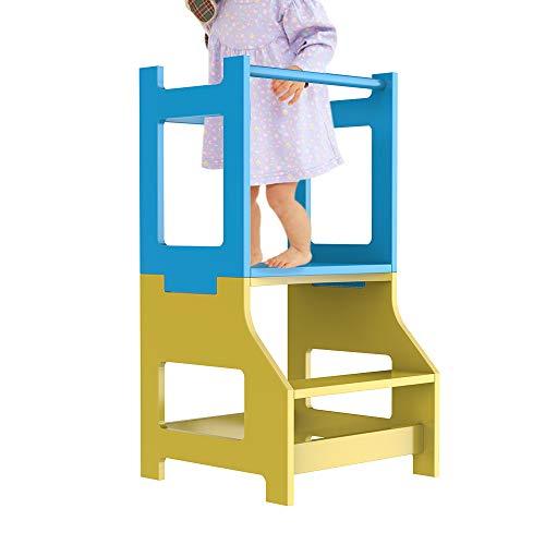 ZZBIQS Taburete de cocina infantil con 2 niveles, torre de aprendizaje para niños, torre de pie para niños pequeños, taburete para aprender a contar (azul y amarillo)