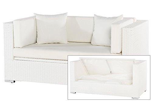 OUTFLEXX 2-Sitzer Sofa Couch aus hochwertigem Polyrattan in weiß mit Kissenboxfunktion inkl. Kissen-Polster, 152 x 85 x 70 cm, Lounge-Sofa Garten Couch für 2 Personen, wetterfest, extra stabil