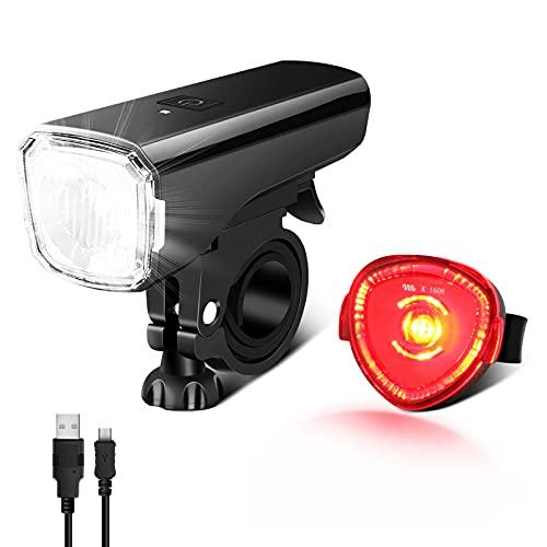 LED Fahrradlicht Set, Fahrradbeleuchtung STVZO Zugelassen Fahrradlampe USB Aufladbar und Wasserdicht Fahrrad Licht mit Frontlicht und Rücklicht (Rotlicht). Sturdy & Duragable (1 modi / ABS)