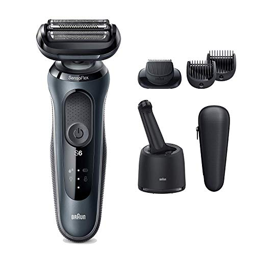 Braun Electric Razor for Men, Series 6 6075cc SensoFlex Electric Shaver with Beard Trimmer, Rechargeable, Wet & Dry Foil Shaver with 4in1 SmartCare Center and Travel Case