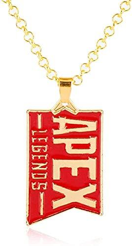 ZPPYMXGZ Co.,ltd Collar Juego Joyería Apex Legends Llavero Colgante de Oro Esmalte Rojo Collar de Metal Bolsa de Coche Llavero Llavero Hombres Mujeres Regalos