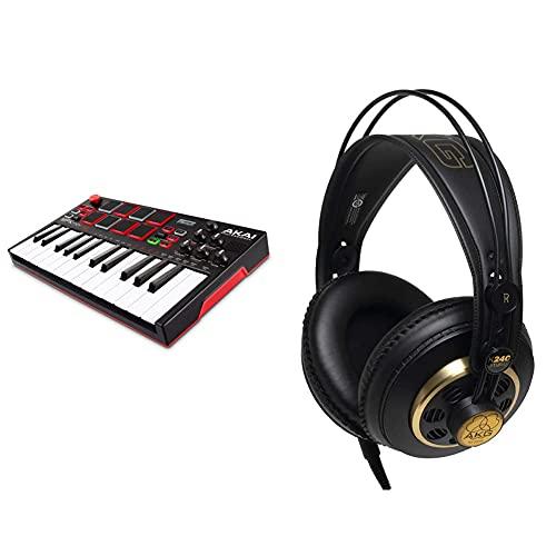 Akai Professional Mpk Mini Play Mini Teclado Controlador Midi Usb Completamente Independiente Y Con Altavoz Integrado, Pads Estilo Mpc + Akg K240 Studio Semi Open Auriculares Profesionales