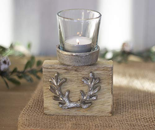 HomeZone Rustic Stag Antler Tealight Holder Wooden Votive Candle Metal Home Decor Christmas Decoration Xmas Candle Holder Free Standing Ornamental Candle Display Reindeer
