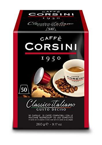 Caffè Corsini - Dcc183 Classico Italiano Miscela di Caffè in Capsule Compatibili Nespresso, Gusto Forte e Deciso - Confezione da 50 Capsule