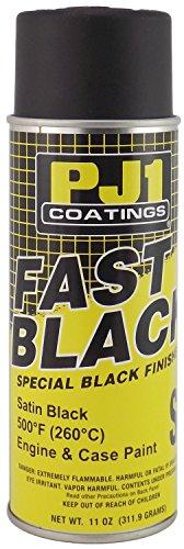 PJ1 16-SAT Satin Black Black Satin Engine Spray Paint (Aerosol), 11 oz