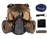 haoYK Máscara táctica de juego CS con lente ahumada con doble ventilador Airsoft Paintbal equipo de protección