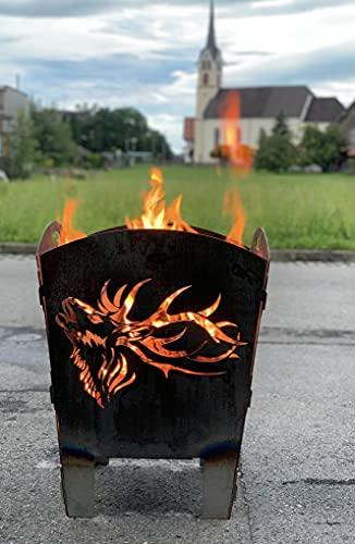 Terma Stahldesign Feuerkorb rostig Motiv Hirsch röhrend höhe 60 cm, massiv und schwer, Feuerstelle, Feuerschale, Feuertonne,