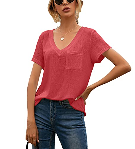Camisa Mujer Cómoda Casual Suelta Moda Cuello En V Manga Corta Verano Color Sólido Dulce Citas Clásico All-Match Elegante Mujer Top Mujer Blusa J-Red XL